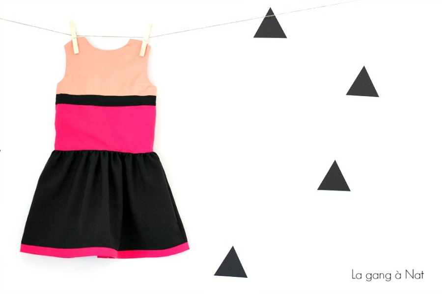 Color Block Version of the Matinée Dress by Jennuine Design, Sewn by La gang à Nat