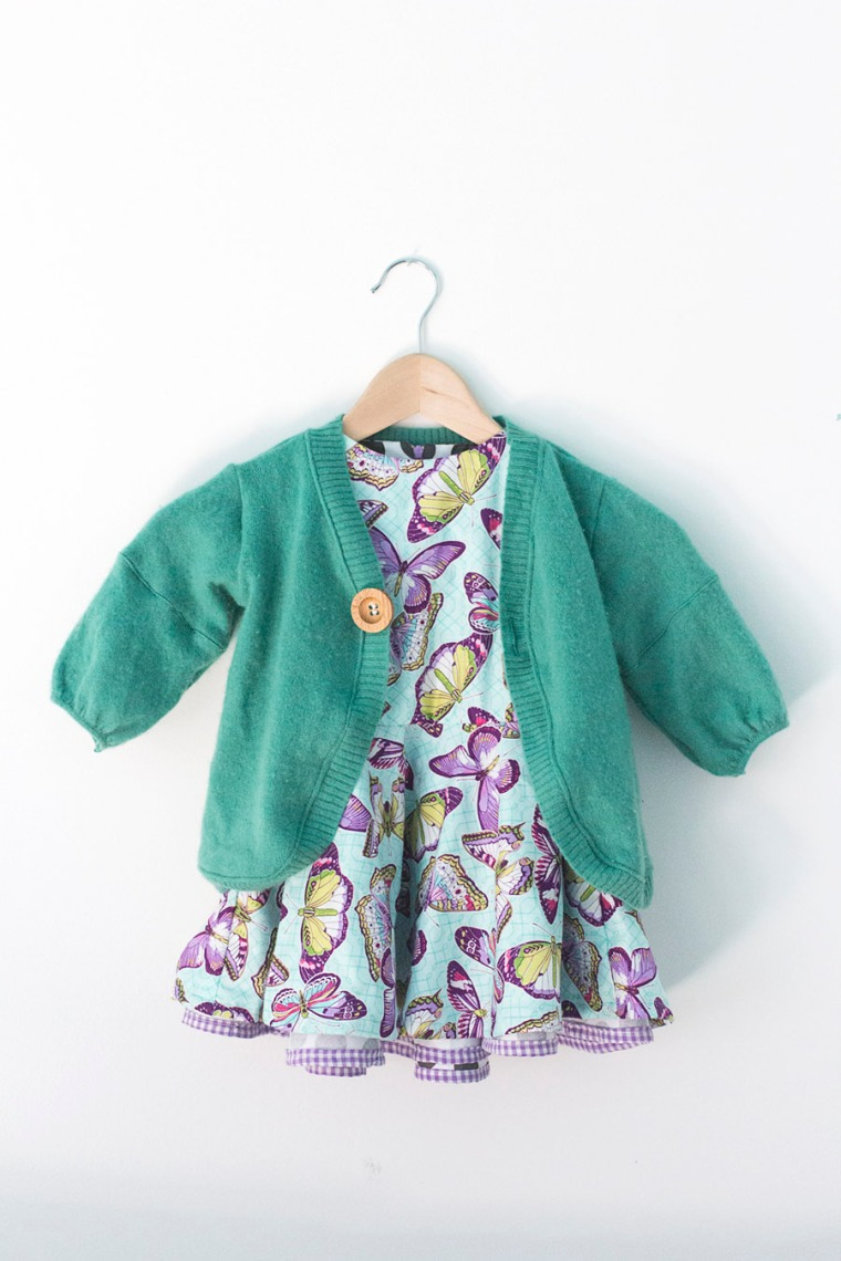Modified Tinny Dress and Aster Cardigan, inspired by Martine books, sewn by La gang à Nat